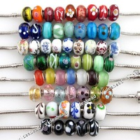 New Fashion Bulk Mixed Charms Lampwork Bead Fit Bracelet 151052 60pcs