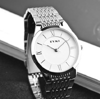 Free Shipping Fashion EYKI Watches men Stainless Full Steel Quartz Super thin Wrist Watches for couple