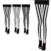 2014 Spring Leggings Brand Women Black and White Stripe Thin Pants Ankle Length Leggings W3265