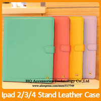 MOQ:1PCS Luxury Leather Case For iPad 2 3 4 Colorful Stand Wallet Cover Handbag With Card Holder Free Shipping