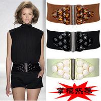 acrylic jewel Ms. girdle wide belt girdle with large gemstone buckle belt