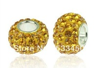 Free Shipping! 925 Sterling Silver Core Charm Bead with Gold European Crystals. Fits All Brands European Charm Lines.