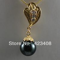 Pendant Necklace Gold&Black Sea shell pearl&Austria Rhinestone 18K Gold Plated Chain Fashion women jewelry Christmas Gift AAA