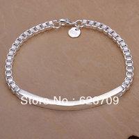 free shipping wholesale 925 solid Silver bracelet, Fashion charm Jewelry  for women/men Box chain Bracelet JH079