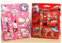 (10 Sets/Lot) 7 In 1 Hello Kitty Cartoon Stationery Set,3 Pencils+Sharpener+Eraser+Notebook+Ruler