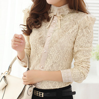 Bd2-4 autumn 2013 women's liangsi turn-down collar lacing puff sleeve lace long-sleeve shirt clothes