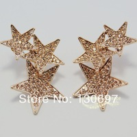 Stud earrings zircon gold plated fashion jewelry  large gloden star free shipping