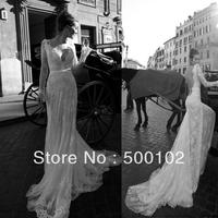 Glamorous V Neck Beaded Perals Sash Open Back Long Sleeve Lace  Wedding Dresses