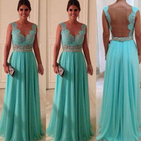 Vestidos De Fiesta Lace Top Open Back Chiffon Celebrity-Inspired Dresses Long Prom Evening Gowns