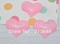 Free Shipping 40pcs/lot Pink Bling Heart Love Flatback Cabochon Fit DIY Phone Decoration 32x25mm