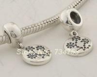100% 925 Sterling Silver Plum Flower Dangle Charm Beads Jewelry, Suitable For European Pandora Charm Bracelet DIY Making