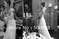 Glamorous Spaghetti Strap Sweetheart Lace Beaded Sash Open Back Wedding Dresses