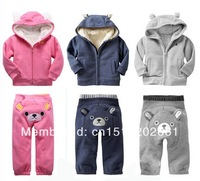 SHT177 baby winter clothes sets, infant suits, kids clothing, winter thick with hat + fur, coat hoodies+ pant, Free shipping