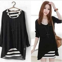 Free shipping new Women's 2013 back patchwork high quality chiffon stripe vest twinset one-piece dresscolor black