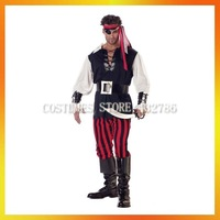 Free Shipping Halloween Adult Man Pirate Costumes  AHMC-0055