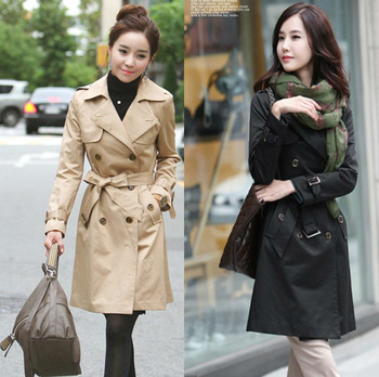 2013 New Autumn Ladies Fashion Dust Coat Women's Wind Coat Double-breasted Warm Buttons Outerwear Trench Wholesale Free shipping
