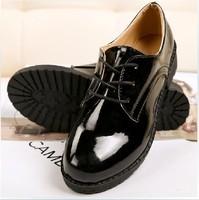 2013 women's casual shoes fashion women's patent leather women sneakers fashion flat heel women lace up oxfords / free shipping