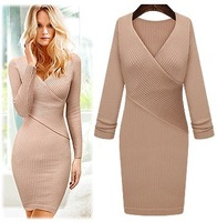 2013 Winter New Fashion V-neck slim hip Tights Knitting Long sleeve knitted dresses one-piece dress Noble elegant  women ladies