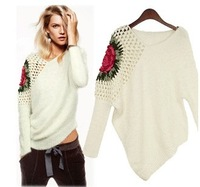 2013 women's fashion vintage cutout long-sleeve sweater 6968 thickening edition