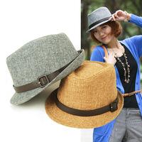Honey autumn and winter male small fedoras fashion jazz hat women's hat quality PU 2 belt decoration