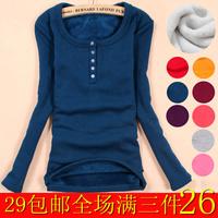 Women's thickening plus velvet basic shirt long-sleeve T-shirt Women slim thermal clothing plus size, free shipping