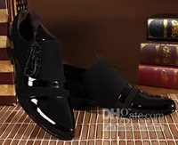 New England Wind pointed black patent leather men's canvas shoes Korean version of the light leather men's shoes