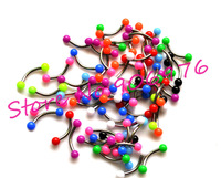 Eyebrow Piercing Ball Neon UV Acrylic Ball 16G Bar Mixed Colors Newest Eyebrow Ring  Bananabells curved Fashion Body Jewelry