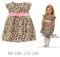 QZ-314  Free shipping baby girls leopard printing dresses kids lovely clothes new arrivel children fashion clothing  retail