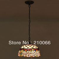 Tiffany Pendant Lamp European Pastoral Style Roses Lamp Mission Hanging Pendant Ceiling Fixture 2pcs/lot Free Shipping