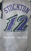 Free Shipping,#12 John Stockton Basketball jersey,Size S--2XL,Accept Mix Order