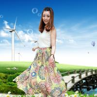 3 meters large expansion skirt bohemia skirt velvet fairy skirt high waist half-length full dress with belt