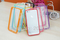12 Colors TPU edge Frame Transparent anti-scratch Clear Acrylic Case for iphone 5 5S via DHL 200pcs/lot