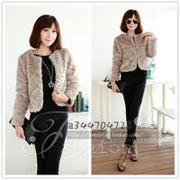 Faux outerwear autumn and winter faux women's design short outerwear wrist-length sleeve vest slim all-match