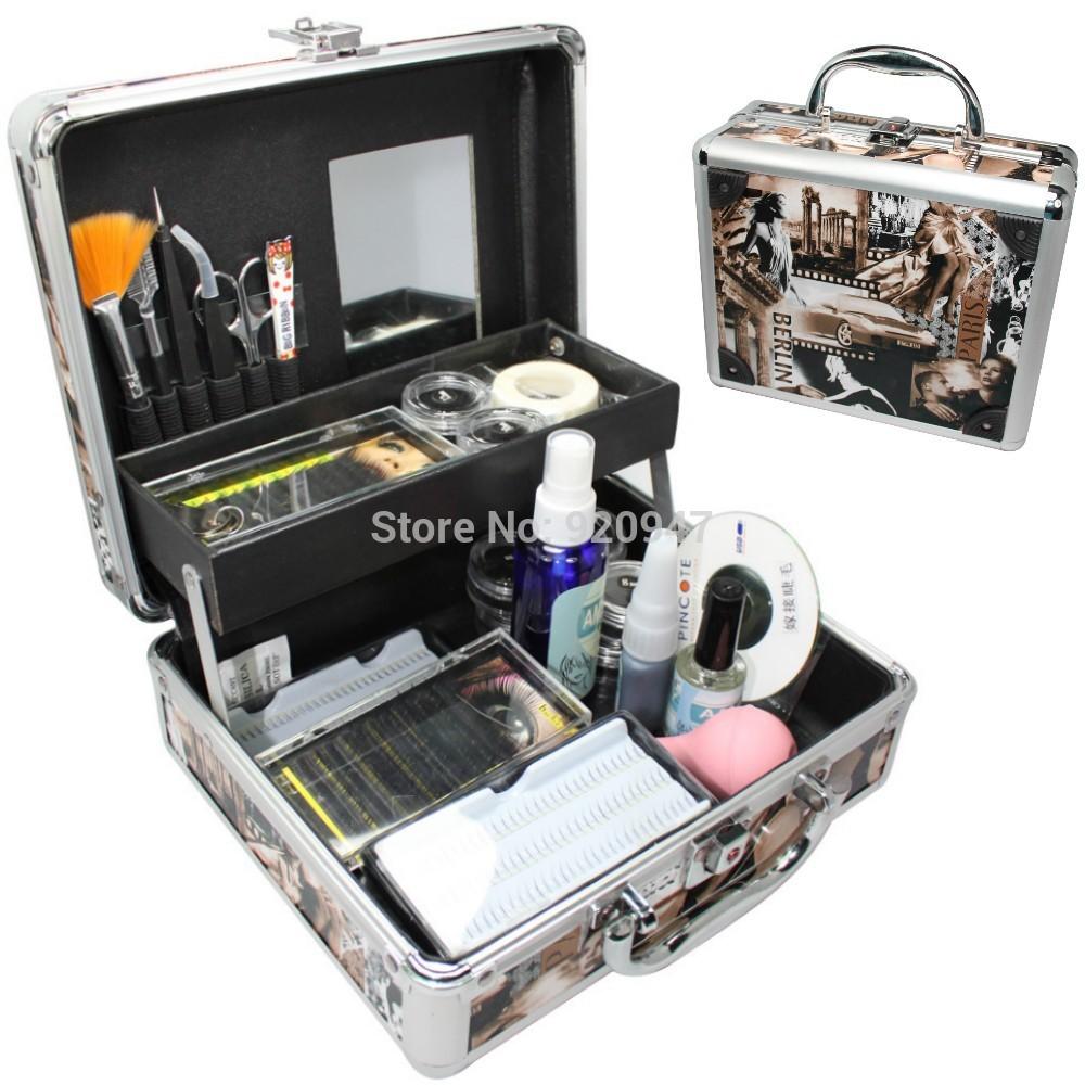 Professional False Eye Lash Eyelash Extension Full Kit Tools Glue Set With Case(China (Mainland))