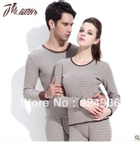 Free shipping Winter New Colored Stripes Couples Thermal Underwear And Thicken With Velvet Men And Women Suits