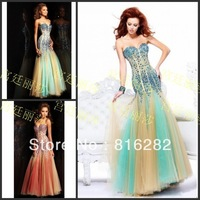 2014 Sheath Column Beads Sequined Sweetheart Off the Shoulder Sleeveless Hunter Tulle Net Backless Zipper Evening Dresses