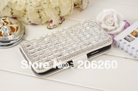 Free shipping,New Products For iphone 4s 4 Leather Case Luxury Diamond Bling Flip Wallet Leather Case For iPhone 4S 4 With Card