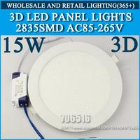 Wholesale 20PCS 3D New High brightness LED Panel Lights ceiling lighting 15W 2835SMD Cold white/warm white AC85-265v