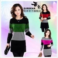 2013 fashion women's one-piece dress long design sweater basic shirt thin sweater cashmere Freeshipping
