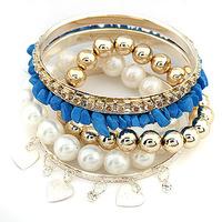 Promotion Gift Ladies Fashion White Pearl beads Charm Multilevel Bracelet Bangle