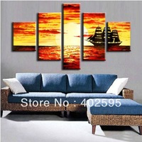 5 panels seaside landscape Sailboat 100% handmade abstract oil painting on canvas modern art huge Free shipping New10