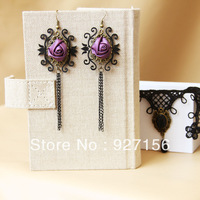 Best wedding gift women retro purple rose tassels drop earrings vintage flower jewelry accessories for girl