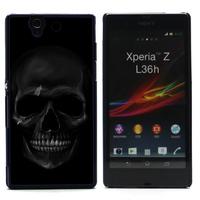 FOR XPERIA Z CASE, Black Skull Hard Cover Case Skin For SONY XPERIA Z L36H (L36H-919) FREE SHIPPING