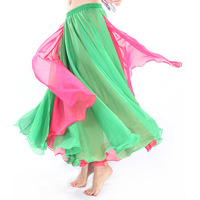 Belly dance skirt placketing two-color dress performance dress wave overcastting expansion skirt 18 q00586