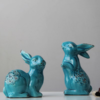 Modern chinese style american classical green rabbit living room tv cabinet decoration
