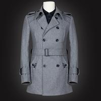 2013 Winter Plus Size Male Business Wool Trench Coat Men's Thick Woolen Overcoat Military Style Epaulet Belt Pea Outdoor Coat