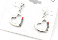 Min.order is $15 (mix order)-Europe And Major Suit Website With New Heart Diamond Stud Earrings Factory Direct-E126