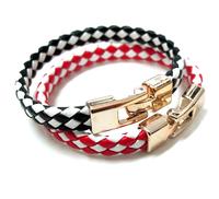 Women Ladies PU Leather Bracelet  Double Color Grid Stipe Bracelet Weaving Gold Plating Chains Bracelet AB246
