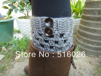 Grey Crochet Knitted Boot Socks, Faux Leg Warmers, Boot Toppers with Chunky Knit and Wooden Buttons for Women and Teens