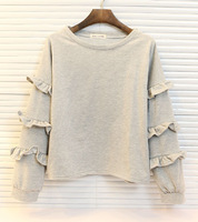new brand design solid color pullover sweet long-sleeve ruffle sweatshirt women's casual loose plus size shirt female basic top